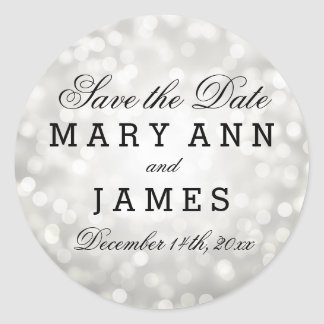 Wedding Save The Date Silver Glitter Lights Classic Round Sticker