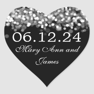 Wedding Save The Date Silver Lights Heart Sticker