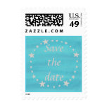 Wedding Save the Date, silver stars on blue stamps Stamp