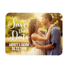 Wedding Save the Date | Simple Script Rectangle Magnets