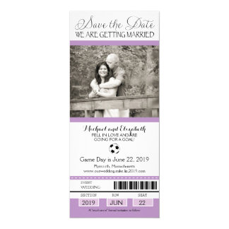 """Wedding Save the Date Soccer Ticket 4"""" X 9.25"""" Invitation Card"""