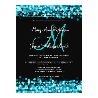 Wedding Save The Date Sparkles Turquoise Card
