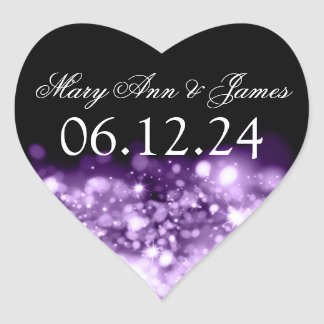 Wedding Save The Date Sparkling Lights Purple Heart Sticker