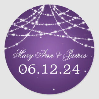 Wedding Save The Date Sparkling String Purple Classic Round Sticker