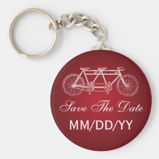 Wedding Save The Date Tandem Bike Red Keychains