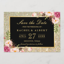 Wedding Save the Date | Trendy Gold Glitter Floral