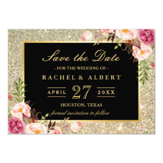 Wedding Save the Date | Trendy Gold Glitter Floral Card