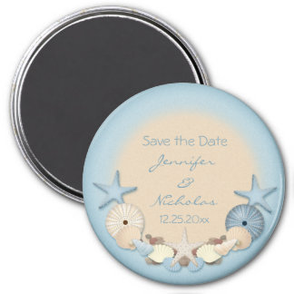 Wedding Save the Date Tropical Beach Shells Magnet