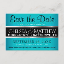 Wedding Save the Date Turquoise and Silver