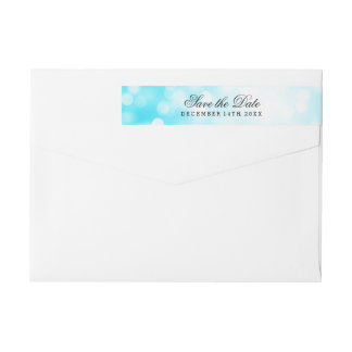 Wedding Save The Date Turquoise Glitter Lights Wrap Around Label