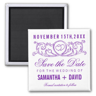 Wedding Save The Date Vintage Heart Swirls Purple 2 Inch Square Magnet