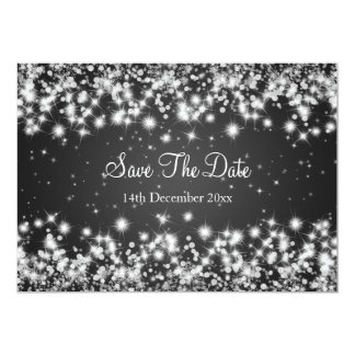 Wedding Save The Date Winter Sparkle Black Card