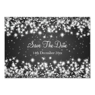 Wedding Save The Date Winter Sparkle Black Card