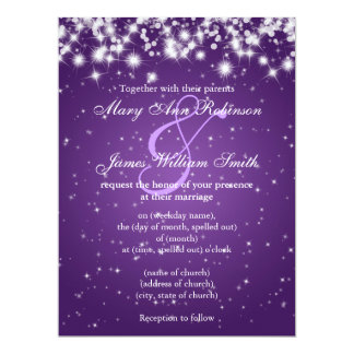 Wedding Save The Date Winter Sparkle Purple Card