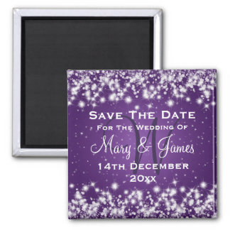 Wedding Save The Date Winter Sparkle Purple Magnet