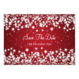 Wedding Save The Date Winter Sparkle Red Card
