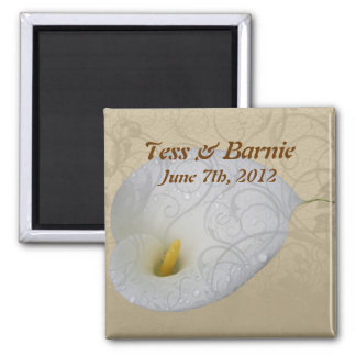 Wedding Save the Date with Dew drop White Lily Fridge Magnet
