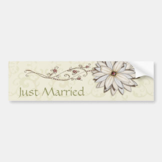 Wedding Save the Date with Elegant Floral Design Bumper Sticker