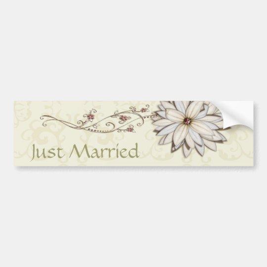 Wedding Save the Date with Elegant Floral Design Bumper Sticker