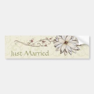 Wedding Save the Date with Elegant Floral Design Car Bumper Sticker