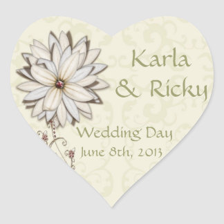 Wedding Save the Date with Elegant Floral Design Heart Sticker