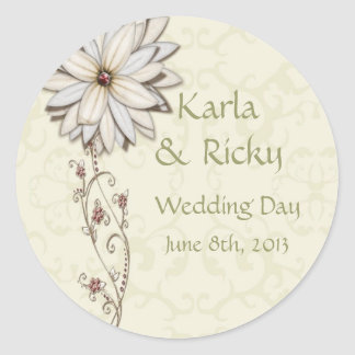 Wedding Save the Date with Elegant Floral Design Classic Round Sticker