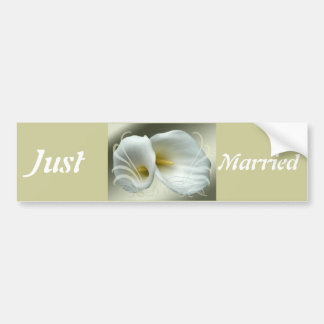 Wedding Save the Date with White Lilies Design Car Bumper Sticker