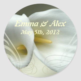 Wedding Save the Date with White Lilies Design Classic Round Sticker