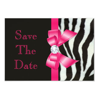 Wedding Save The Date Zebra Hot Pink Bow Card