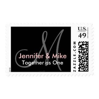 Wedding Saying Names & Monogram Stamp Pink