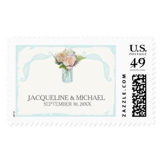 Wedding Script Typography Rustic Floral Mason Jar Stamp