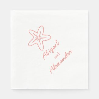 Wedding sea star coral luncheon paper napkin