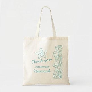 Wedding sea star swirl aqua Bridesmaid bag Canvas Bags