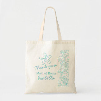 Wedding sea star swirl aqua maid of honor bag bag