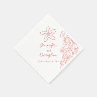 Wedding sea star swirl coral white paper napkin