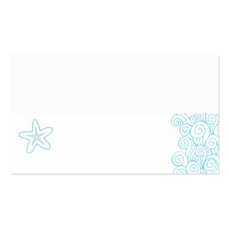 Wedding sea star swirls aqua white place cards Double-Sided standard business cards (Pack of 100)