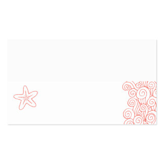 Wedding sea star swirls coral white place cards Double-Sided standard business cards (Pack of 100)