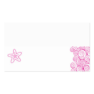 Wedding sea star swirls pink white place cards Double-Sided standard business cards (Pack of 100)