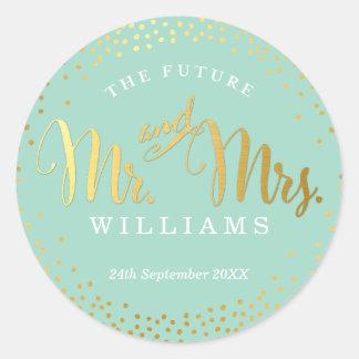 WEDDING SEAL stylish mini gold confetti mint