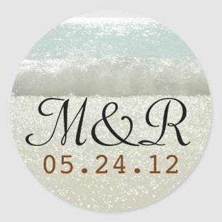 wedding seal with beach waves
