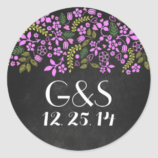 wedding seal with rustic floral chalkboard classic round sticker