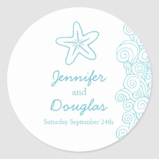Wedding seastar starfish beach waves aqua sticker