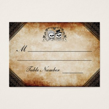 Halloween Themed Wedding Seating - Brown Gothic Halloween Skeletons Business Card