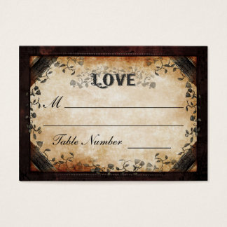 Wedding Seating Card - Brown Gothic Halloween LOVE