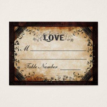 Halloween Themed Wedding Seating Card - Brown Gothic Halloween LOVE