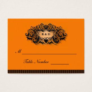 Wedding Seating Cards - Halloween Orange & Black