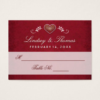 Wedding Seating Cards - Maroon Red & White