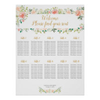 Wedding seating chart 10 tables | Blush roses