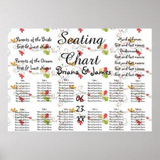 Wedding Seating Chart Bride Groom Bridal Elegant