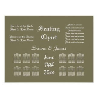 Wedding Seating Chart Bride Groom Bridal Guests